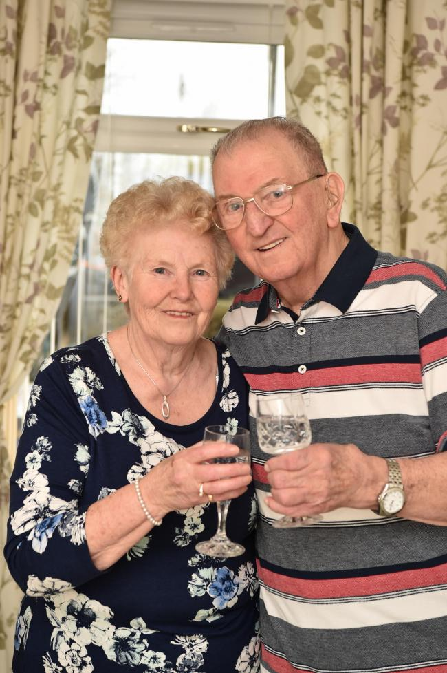 Agnes and Joseph Sharp celebrate their Diamond Wedding Anniversary.