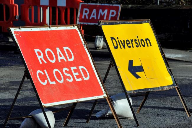 Ardrossan south beach railway station, road closure. Road closed. Ramp. Roadworks sign. Diversion..