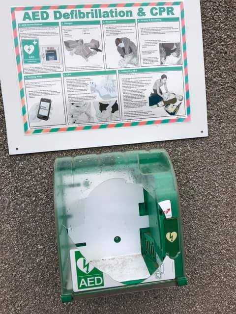 Defibrillator box at Eglinton Park is smashed by vandals